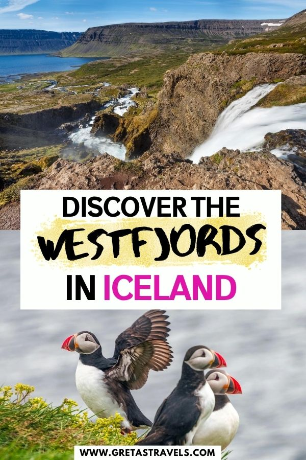 """Photo collage of Dynjandi Falls and a group of puffins with text overlay saying """"Discover the Westfjords in Iceland"""""""