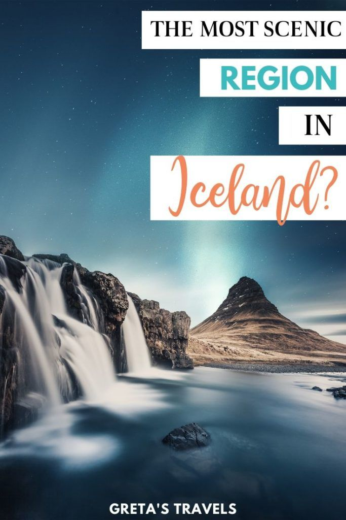 """Photo of Kirkjufell waterfall and mountain at night with the northern lights behind, with text overlay saying """"The most scenic region in Iceland?"""""""
