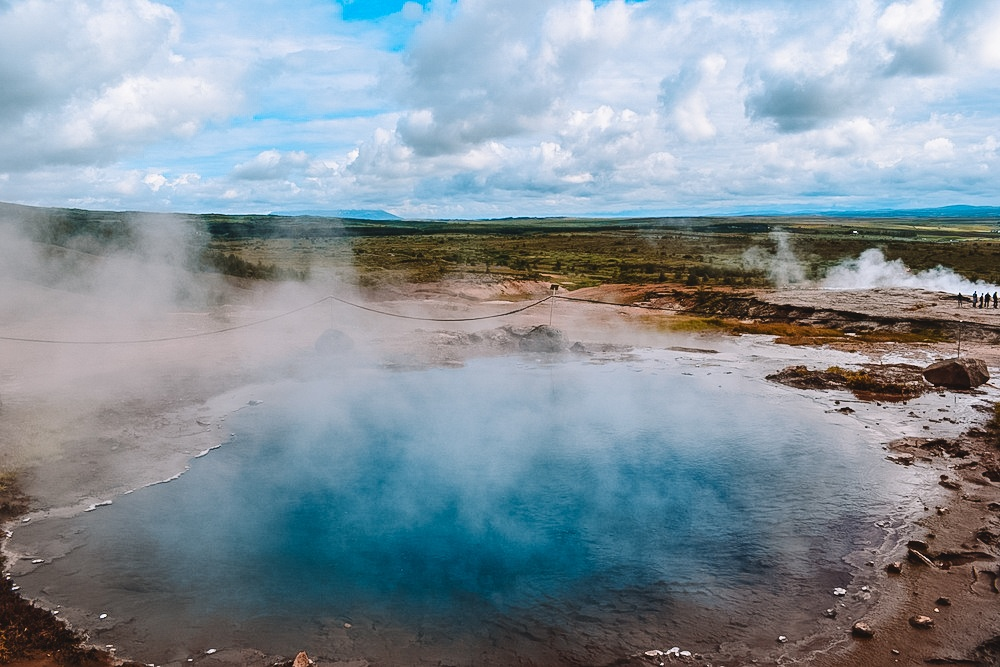 The Great Geysir, now dormant, in the Golden Circle, Iceland