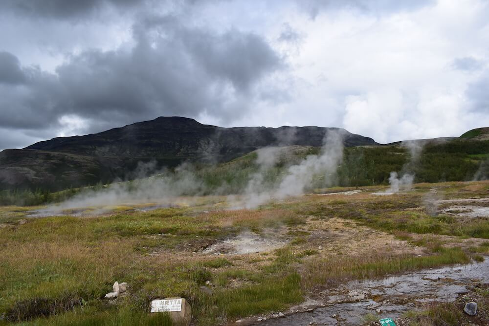 The smoking ground at the Haukadalur thermal area