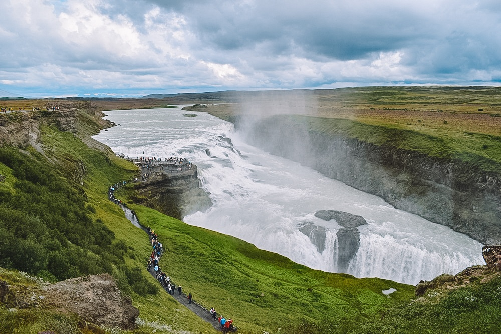 Gullfoss waterfall, one of the main attractions in the Golden Circle, Iceland