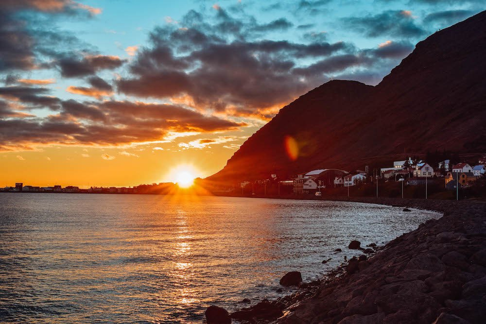 Sunset over Patreksfjordur in the Westfjords of Iceland