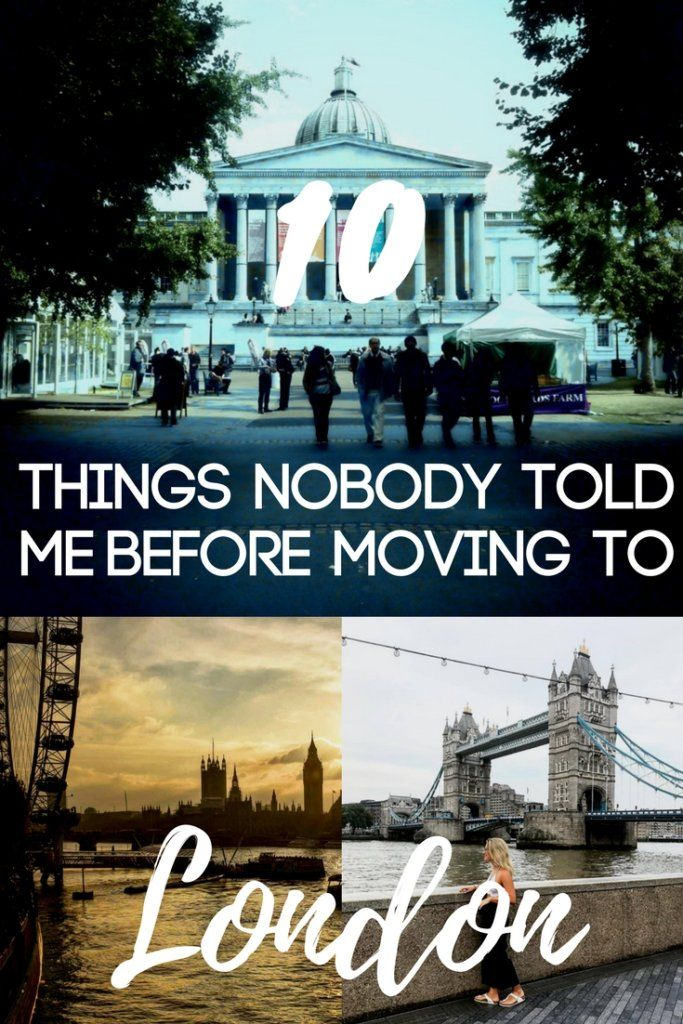 """Photo collage of UCL, Tower Bridge and the London Eye with text overlay saying """"10 things nobody told me before moving to London"""""""