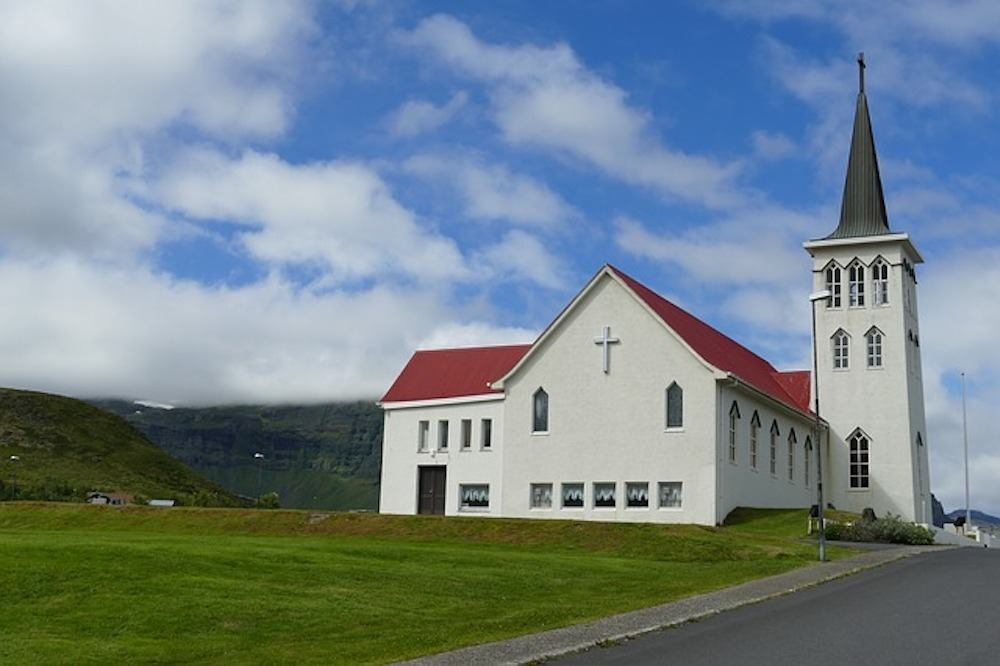A white church in the Snaefellsnes Peninsula, Iceland