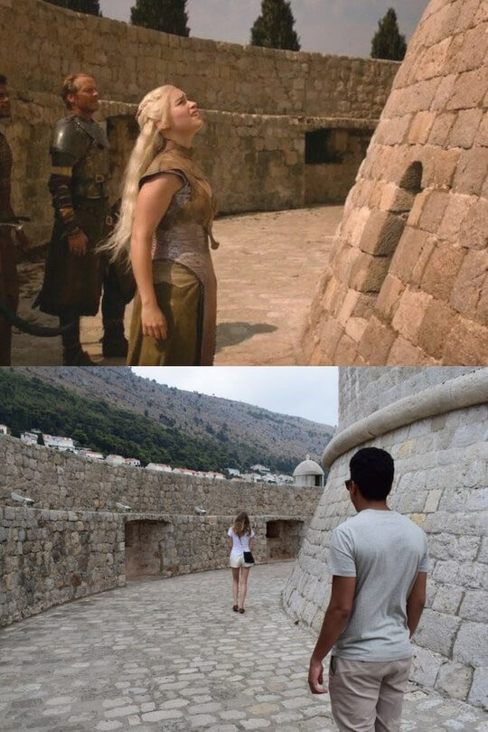 Danaerys and Ser Jorah at the House of Undying in Episode X, Seaon X above, my friends recreating the scene in real life below