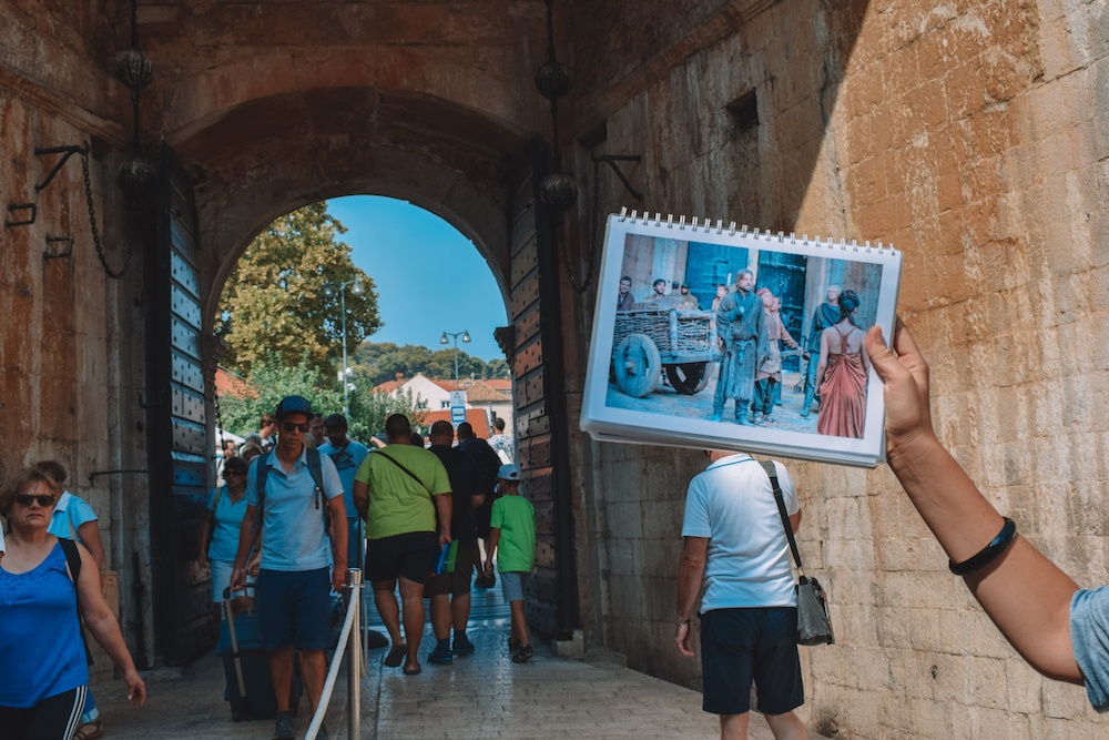 Jamie Lannister returns to Kings Landing in season 3, episode 10 of Game of Thrones, filmed at Pile Gate in Dubrovnik