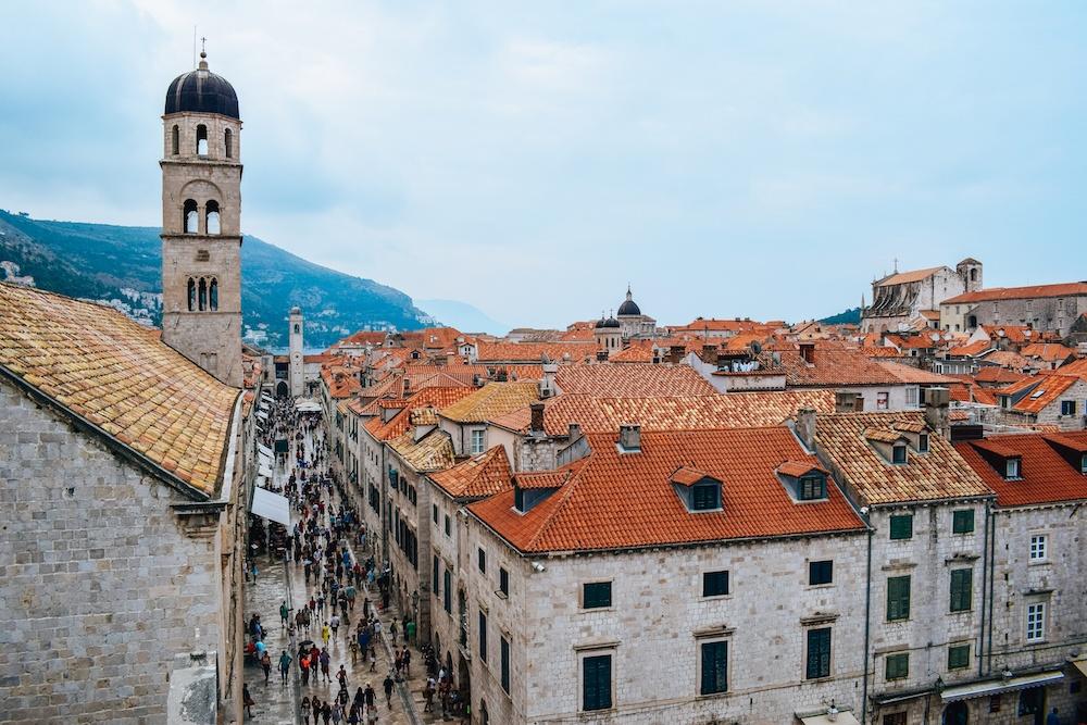 Exploring the Old Town walls in Dubrovnik, Croatia.