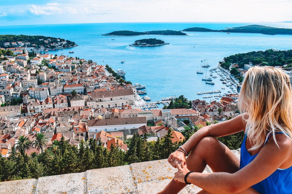 View over the harbour and rooftops of Hvar from the top of the fort