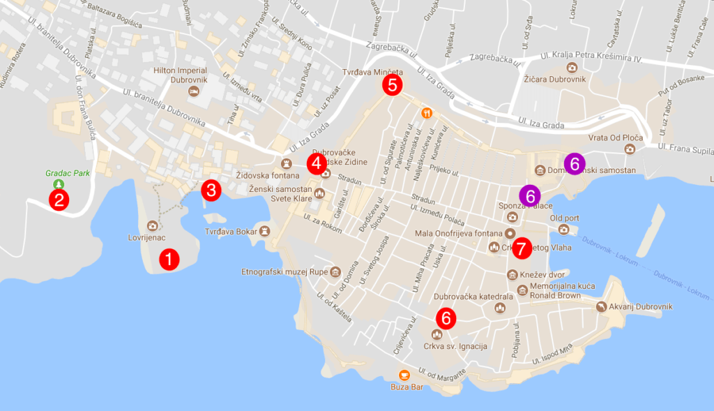 All the game of thrones filming locations in dubrovnik with map every game of thrones filming location in dubrovnik mapped publicscrutiny Images