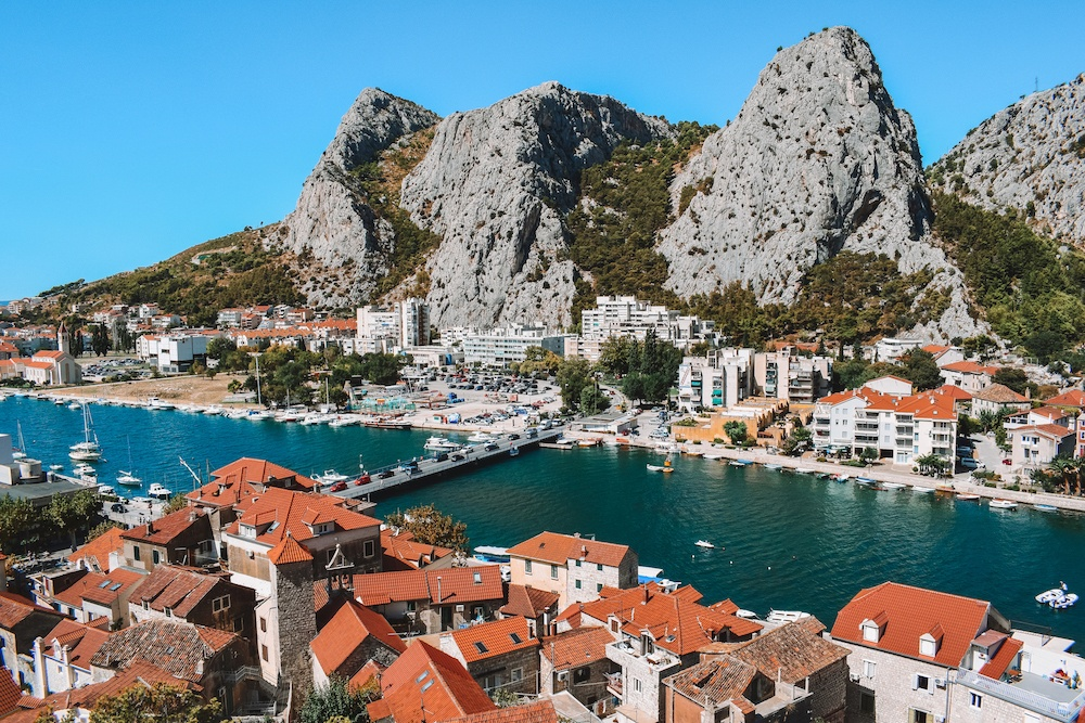 View over Omis and the Cetina Canyon from the top of the fort, Croatia