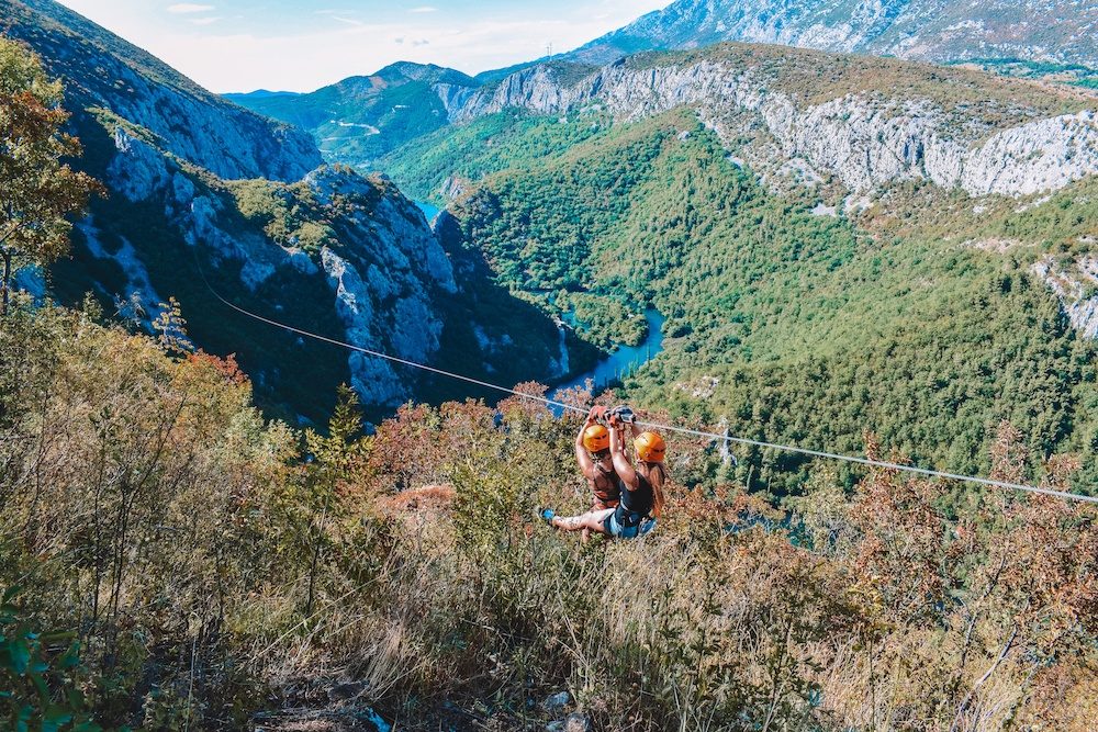 Zip-lining in the cetina canyon close to Split, Croatia