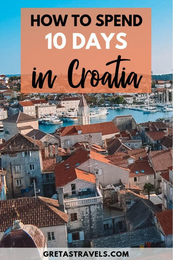 Planning a 10-day trip to Croatia? Check out this detailed day by day itinerary to find out how to spend 10 days in Croatia! #croatia #croatiatips #europe #traveladvice #croatiaitinerary #dubrovnik #split #hvar #krkawaterfalls
