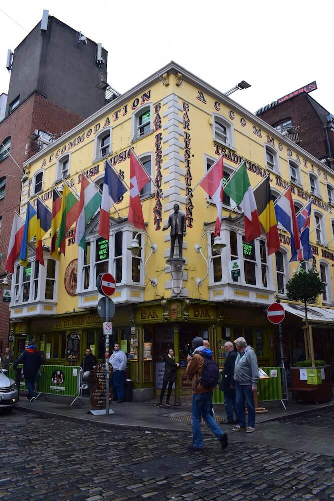 One of the many colourful pubs in the Temple area of Dublin
