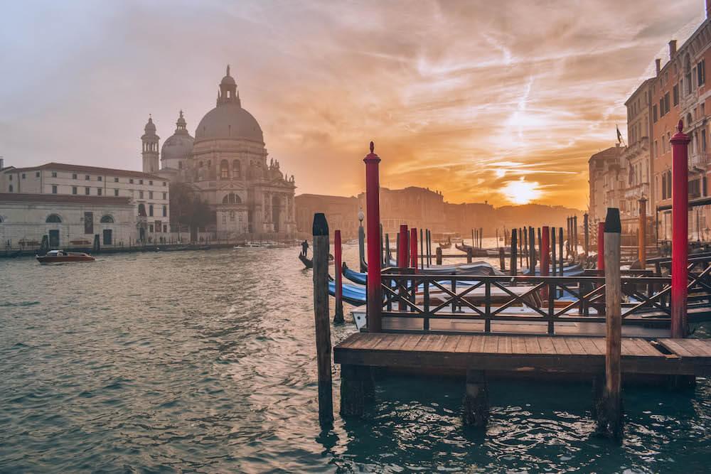The best sunset spot in Venice, Italy, just across from the Basilica di Santa Maria della Salute
