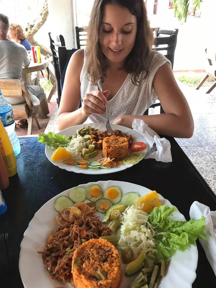 Enjoying a tasty Cuban lunch after a long day of horse riding in the valley of Viñales