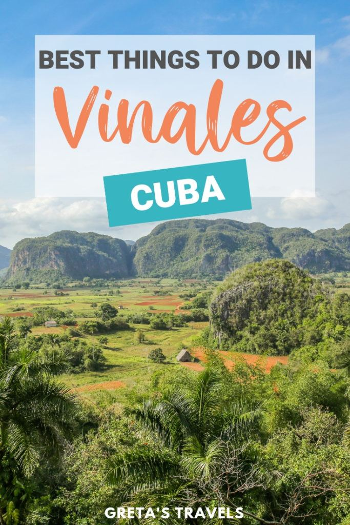 Vinales in Cuba is a town in a beautiful green valley where you can go horse riding in the tobacco plantations, discover caves with prehistorical paintings and visit fantastic beaches. Find out all the best things to do in Vinales, Cuba. #cuba #vinales #beach #caribbean #horseriding #tobaccoplantations #traveltips #traveladvice #cubatraveltips #vinalescuba