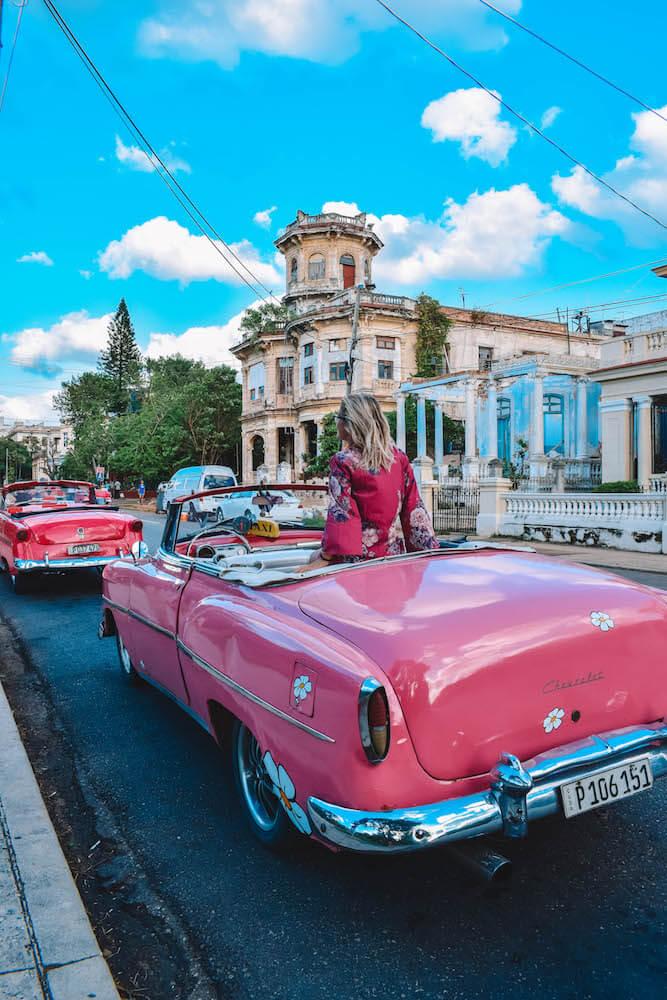 Exploring Havana in our pink vintage Chevrolet