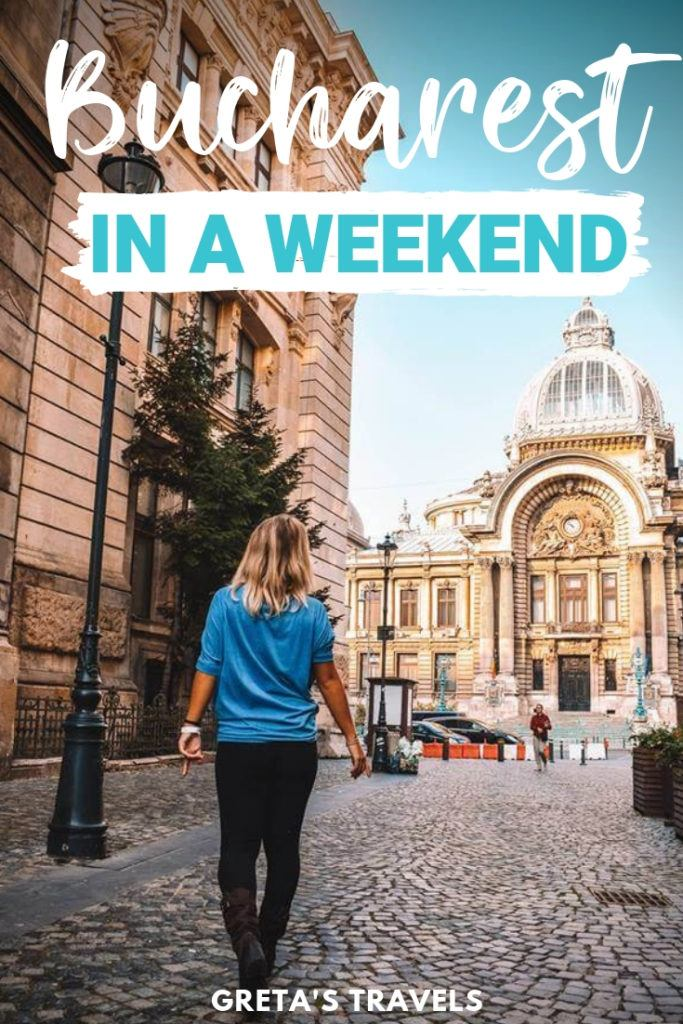 """Photo of a blonde girl walking down the streets of Bucharest with text overlay saying """"Bucharest in a weekend"""""""