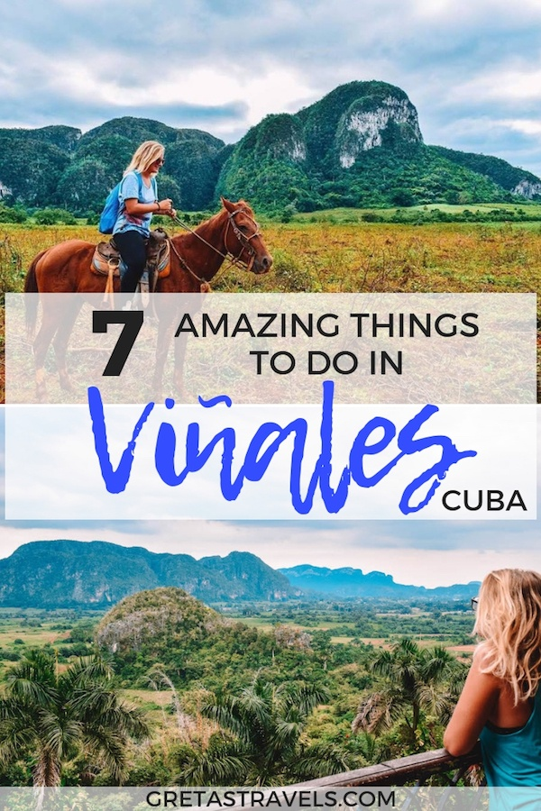 Vinales in Cuba is a town in a beautiful green valley where you can go horse riding in the tobacco plantations, discover caves with prehistorical paintings and visit fantastic beaches. Find out all the best things to do in Vinales, Cuba. #cuba #vinales #beach #caribbean #horseriding #tobaccoplantations