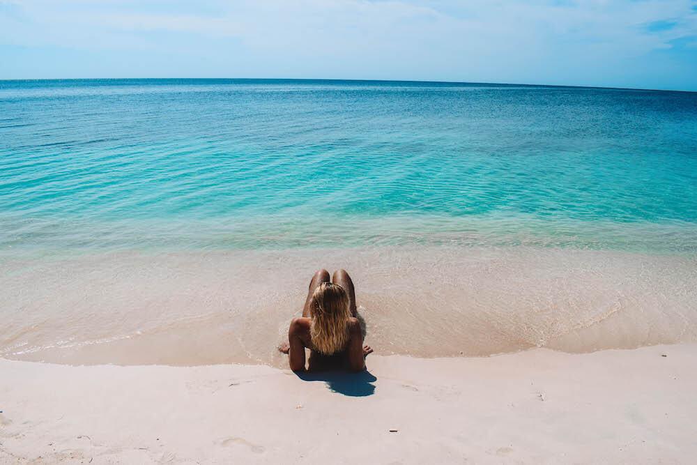 Enjoying a beach day at Playa Ancon, Cuba