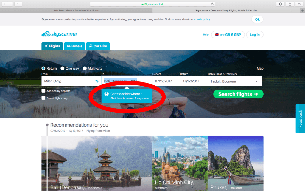 """Skyscanner screen where you can select the """"everywhere"""" option"""
