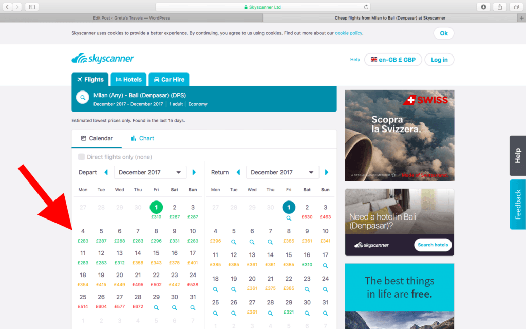 Colour-coded Skyscanner calendar that will show you the cheapest days to fly