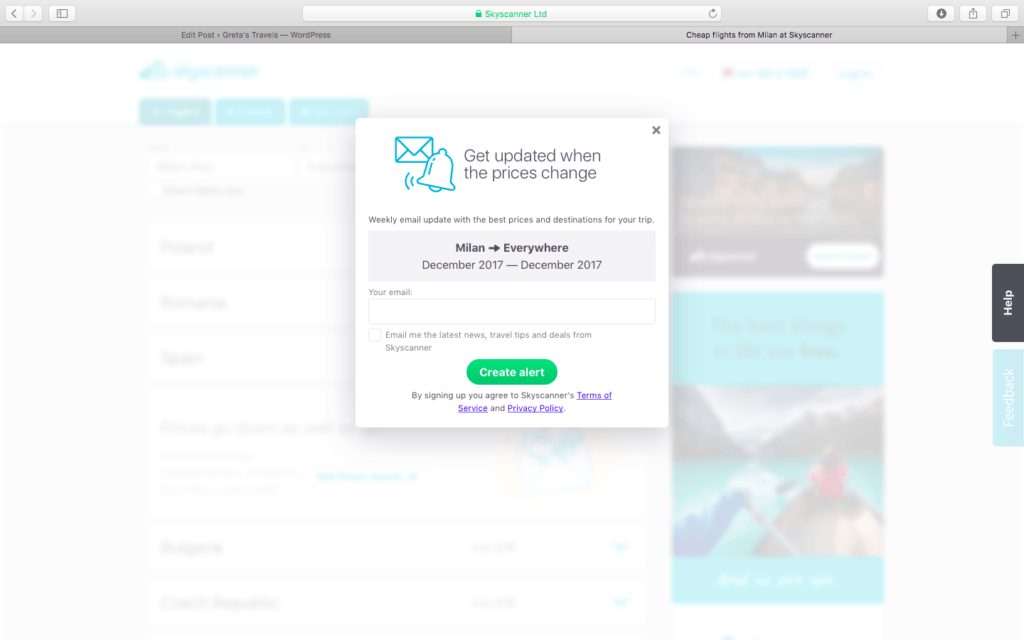 Set up a price alert with Skyscanner