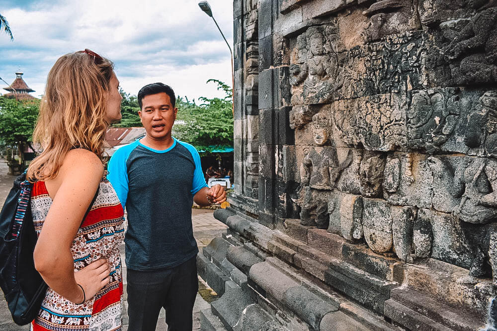 Our guide explaining to us the history of the temples in Yogyakarta, Indonesia