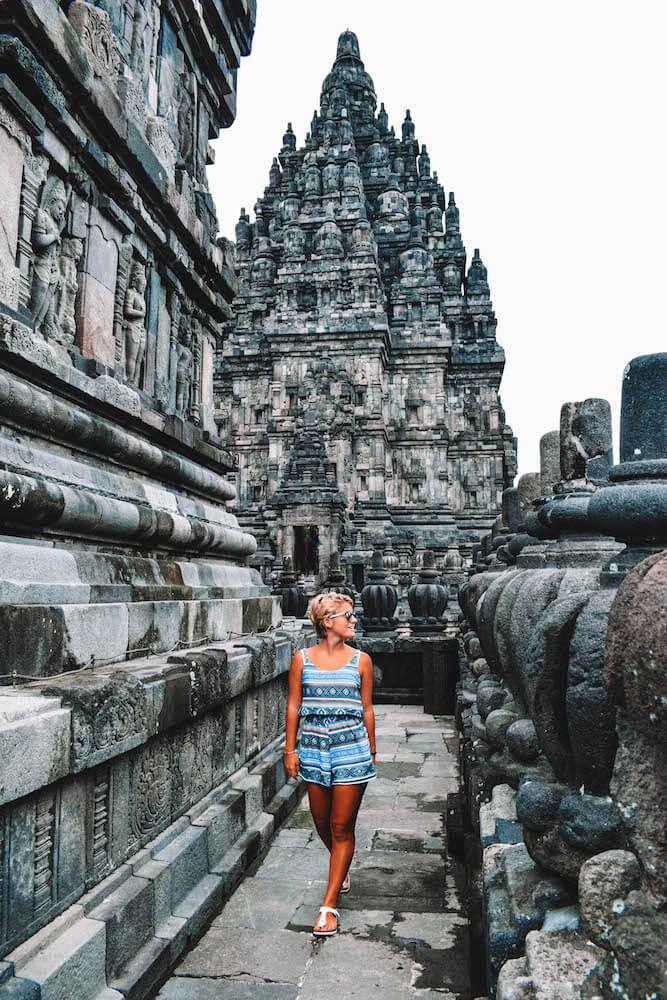 Exploring the main temple compound of Prambanan in Yogyakarta, Indonesia