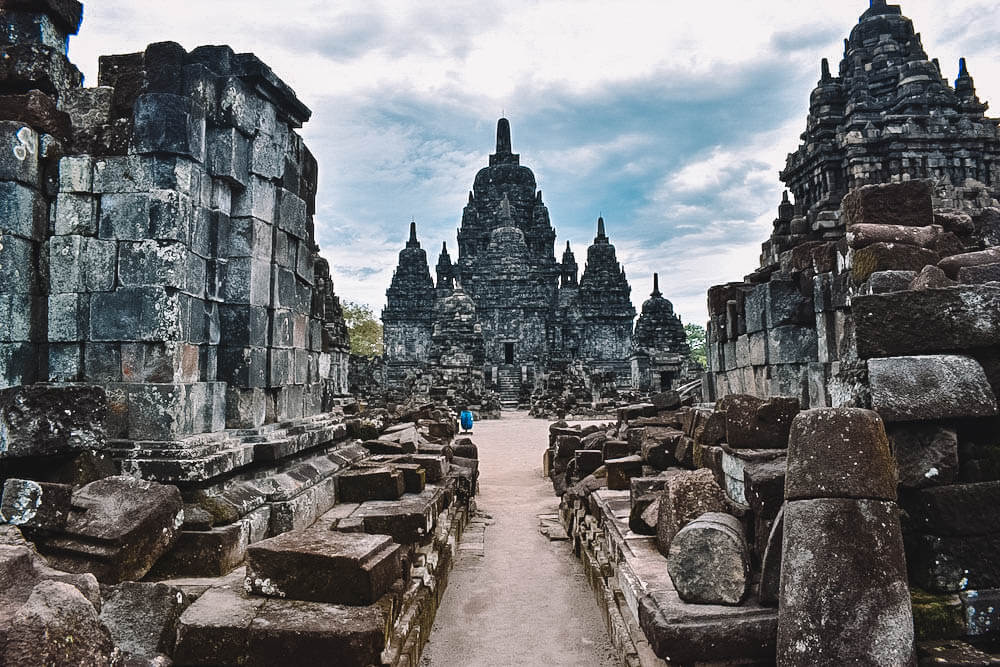 The ruins of the smaller temples of Sewu in Yogyakarta, Indonesia