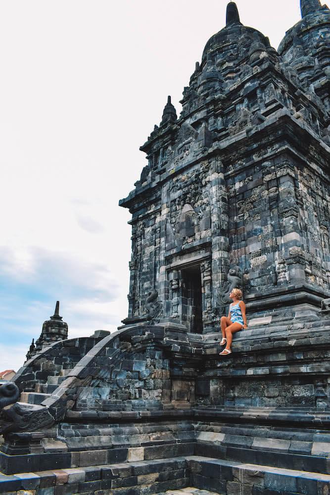 Exploring the main temple of Sewu in Yogyakarta, Indonesia
