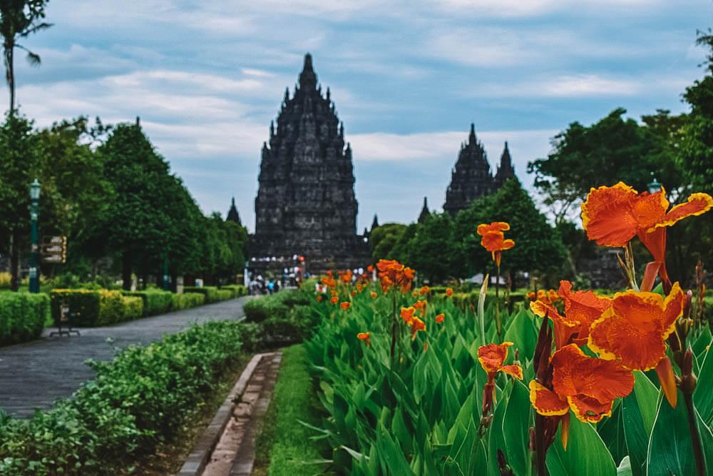 Prambanan temple in the distance