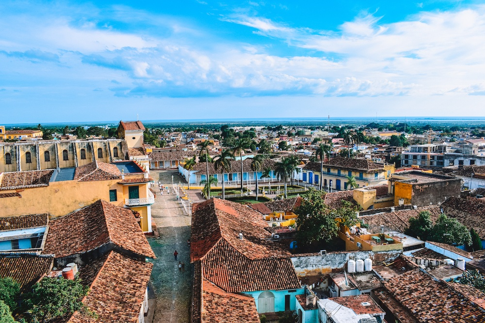 View over the rooftops of Trinidad from the church bell tower.