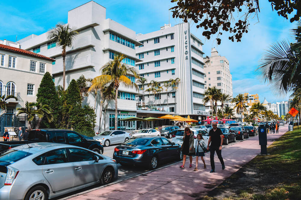 Exploring the Art Deco architecture of the building on Ocean Drive in South Beach, Miami