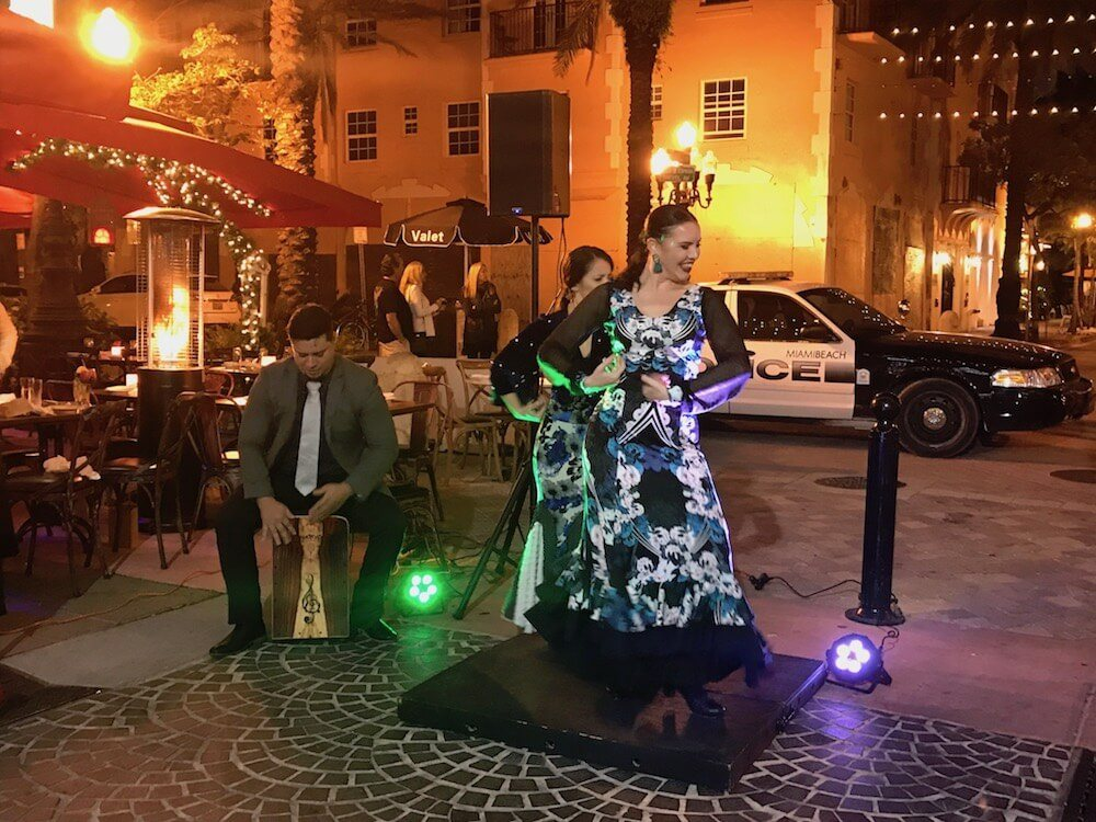 The flamenco show at Tapas y Tintos in Espanola Way, Miami