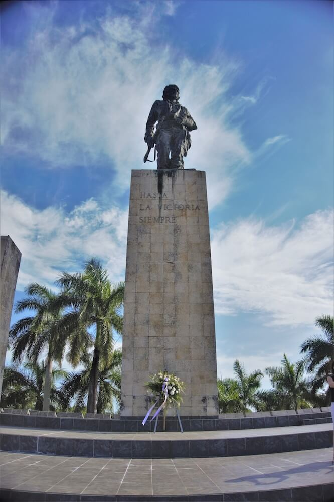 "The statue of Ernesto ""Che"" Guevara at his mausoleum, photo by Rohan of TalesOfABookpacker.com"