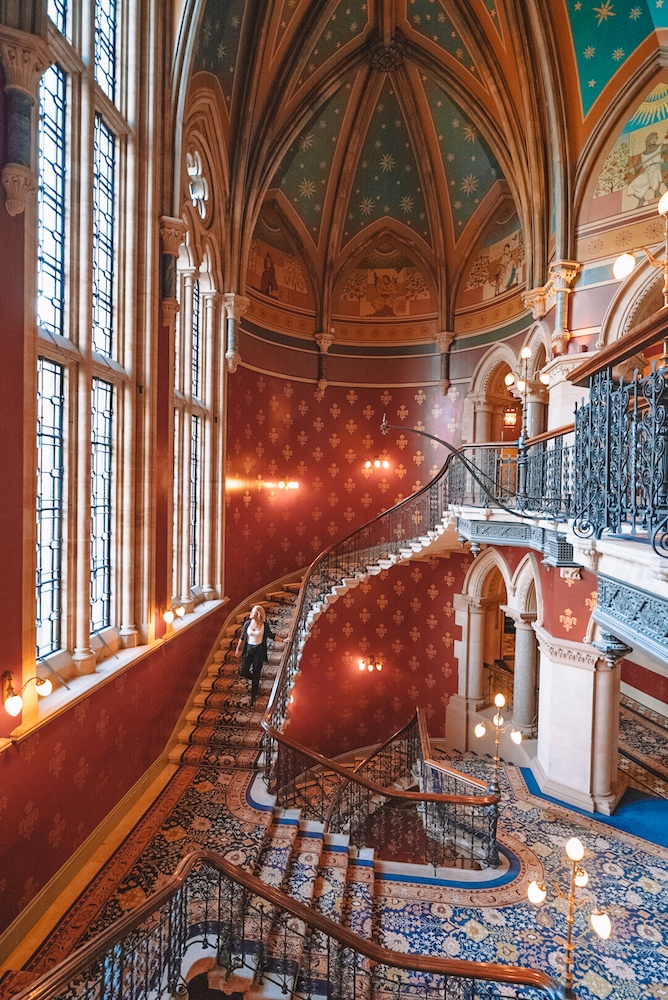 The Grand Staircase of the St Pancras Renaissance Hotel in London, UK