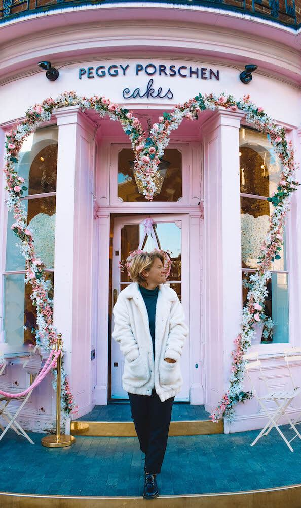 The outside of Peggy Porschen, a cute coffee shop in London, UK