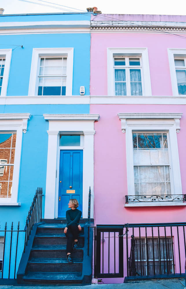 The coloured houses of Portobello Road, London