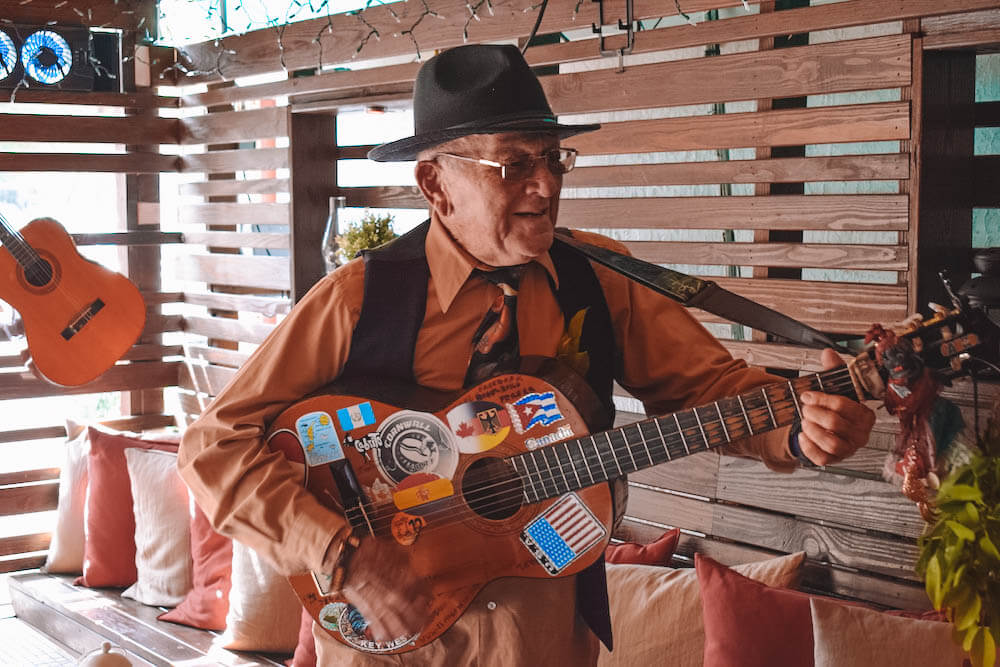 A local street music performer in Little Havana, Miami