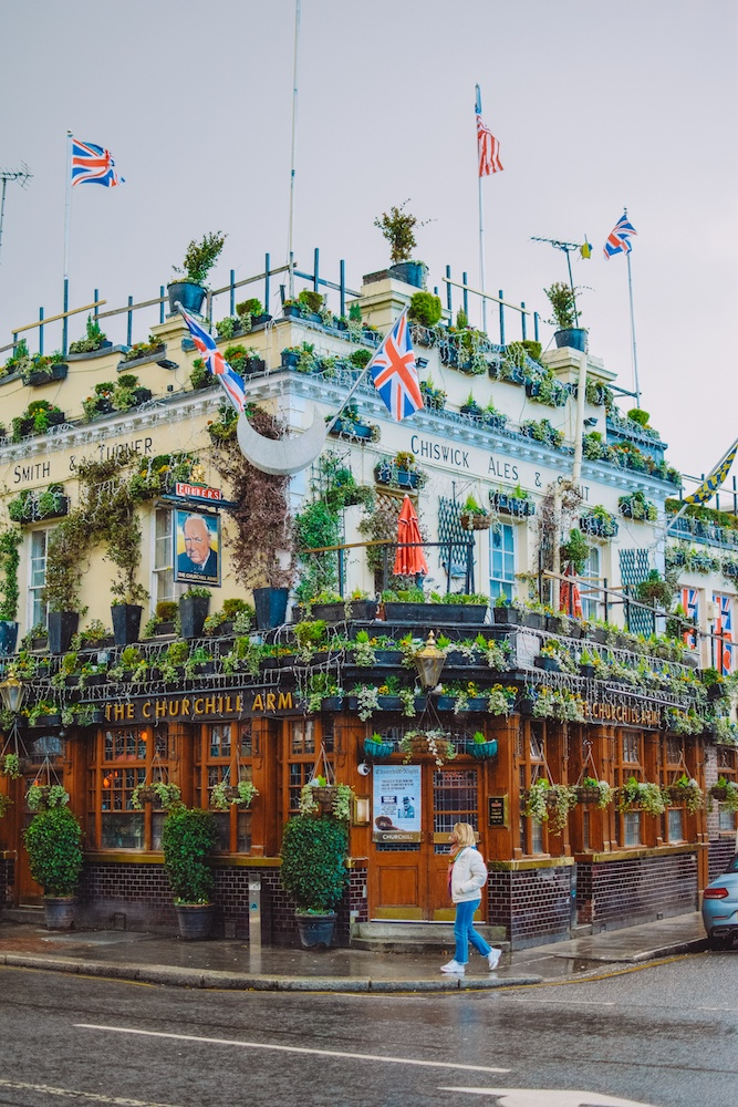 The Churchill Arms pub in London, UK