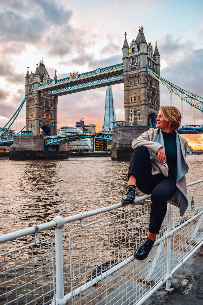 Prime sunset spot over Tower Bridge and the Thames, one of the most Instagrammable places in London