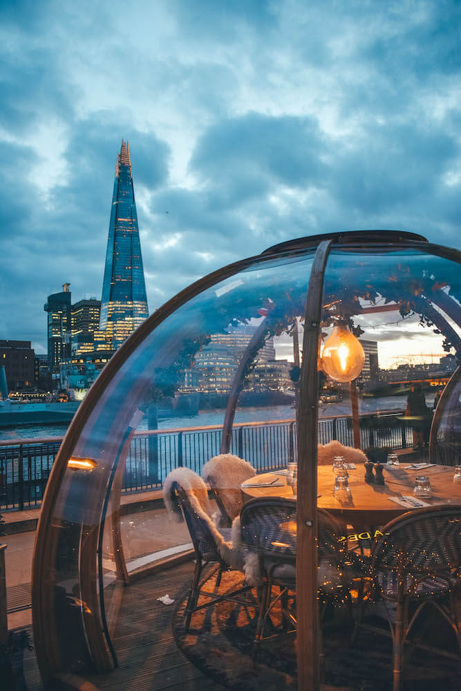 View of the Shard from Coppa Club, London