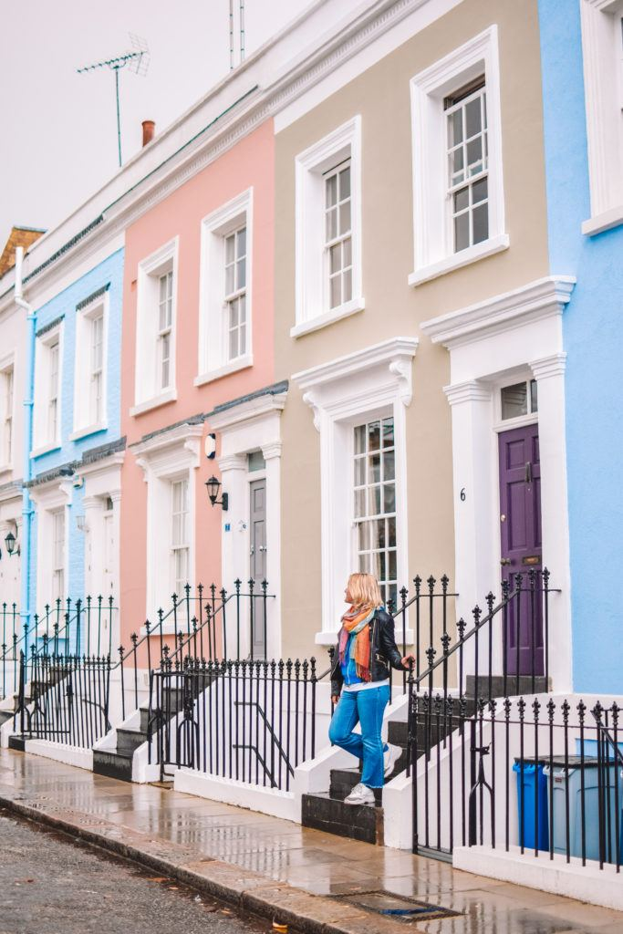 The colourful houses of Hillgate Place in London, UK