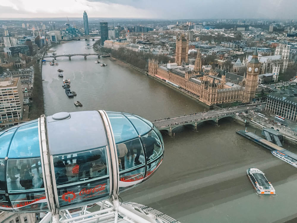 View over Westminster from the London Eye, one of the best Instagram photo spots in London