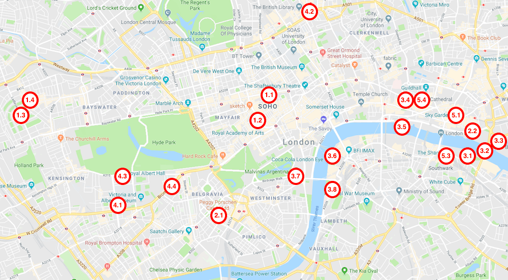 map of the most insagrammable places in london
