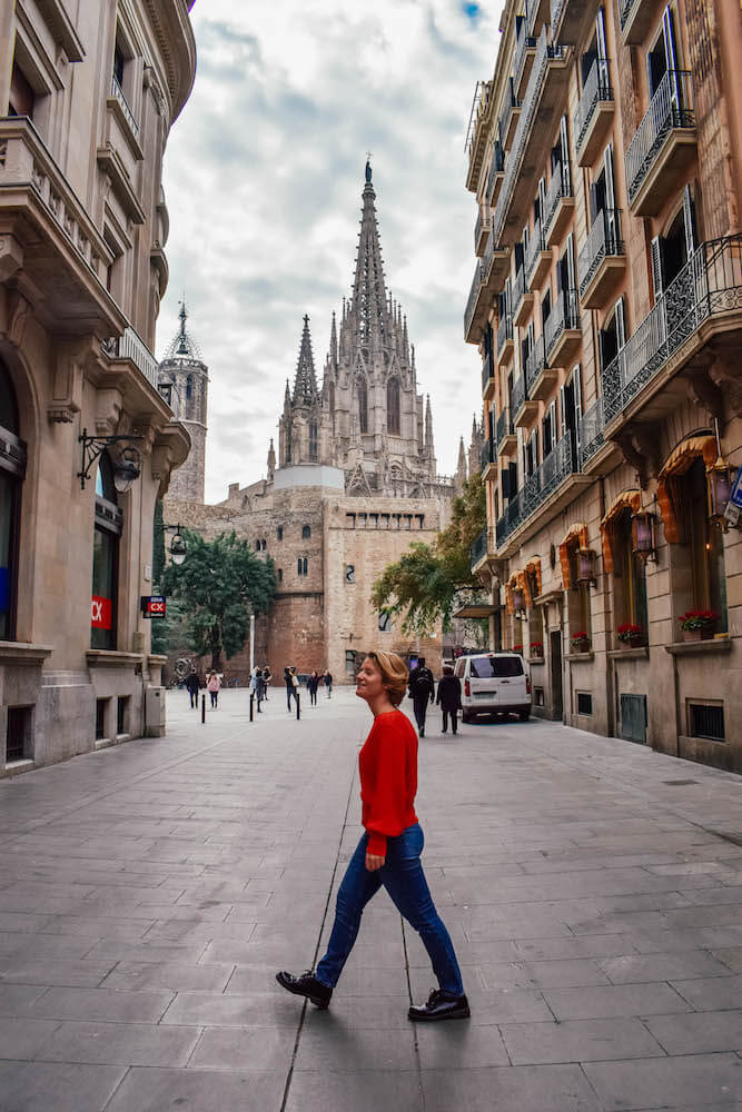 Exploring the streets of Barcelona with the Barcelona Cathedral behind us