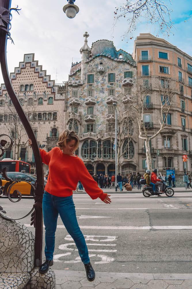 Casa Battlò in Barcelona, Spain, seen from across the road
