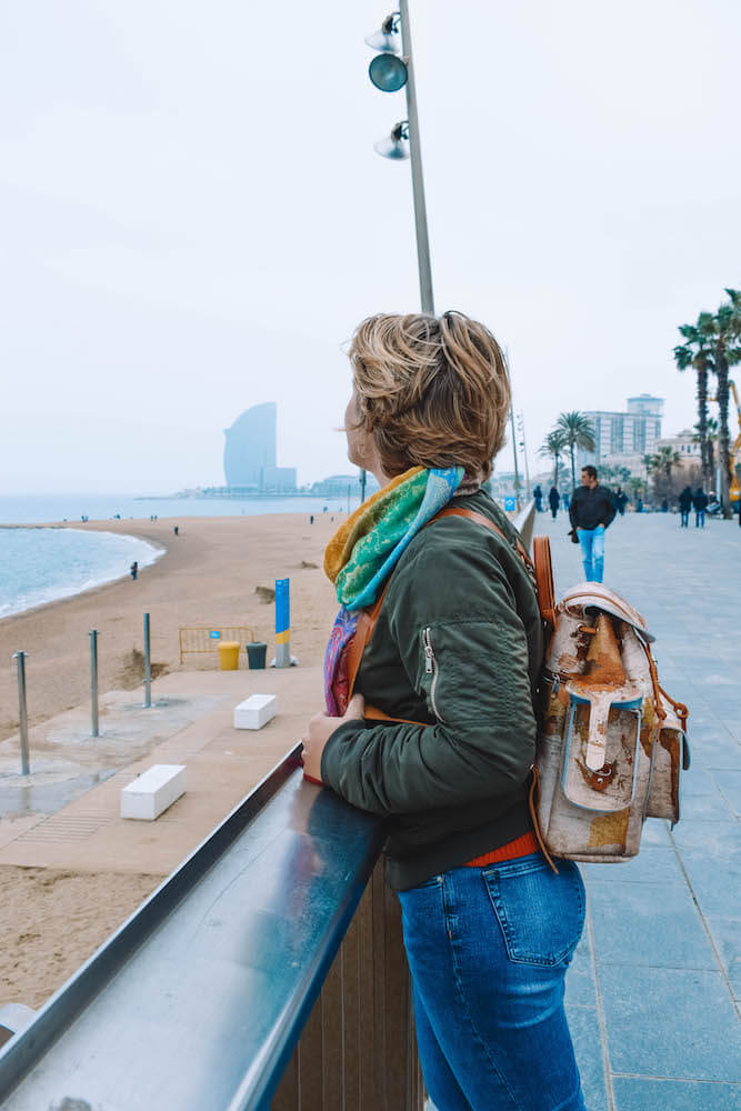 Walking along the beach in Barceloneta