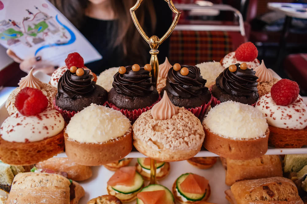 The selection of mini cakes & tarts at the B Bakery afternoon tea